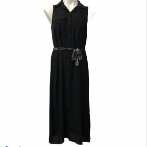 Who What Wear Black Sleeveless Button Down Dress